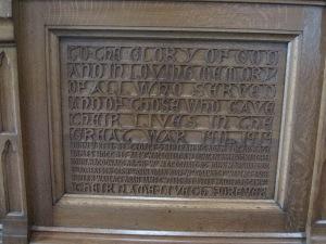 Communion table inscription (2)